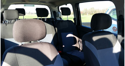 Inside 7 seater taxi